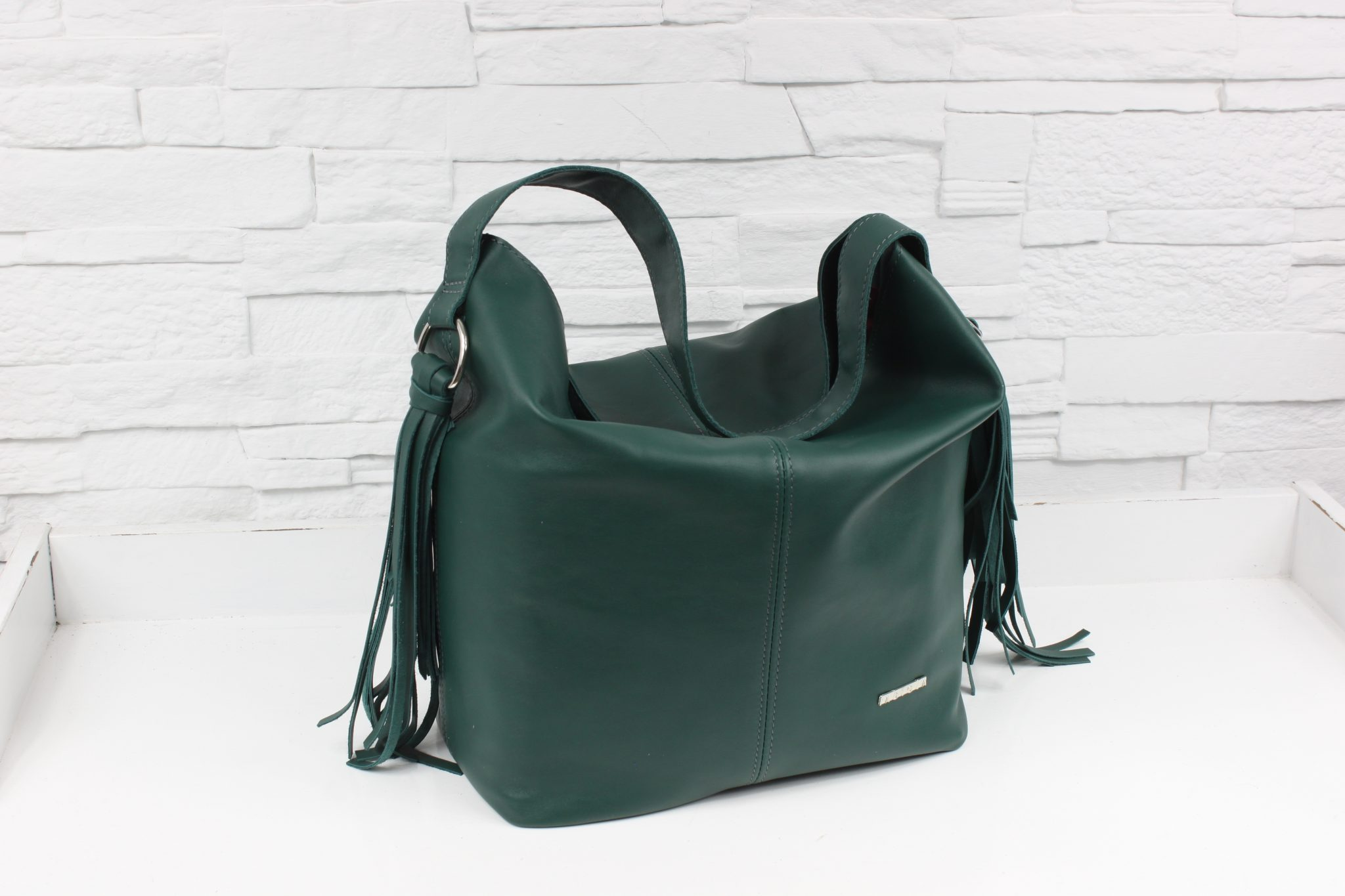 Skórzana Shopper boho Green