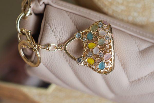 Breloczek-torebka z kryształkami GOLD