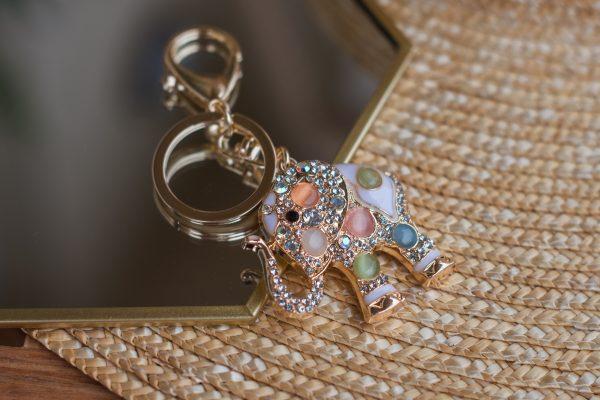 Breloczek-słoń z kryształkami GOLD
