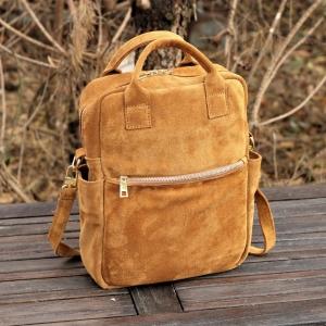 Zamszowy BAGGI plecak jasny miodowy GOLD